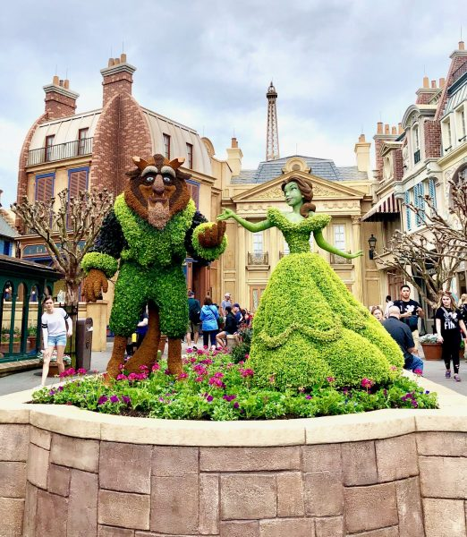 Beauty and the Beast topiaries at France Pavilion