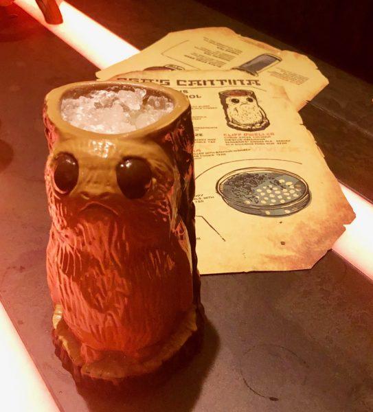 Oga's Cantina Cliff Dweller with souvenir porg mug