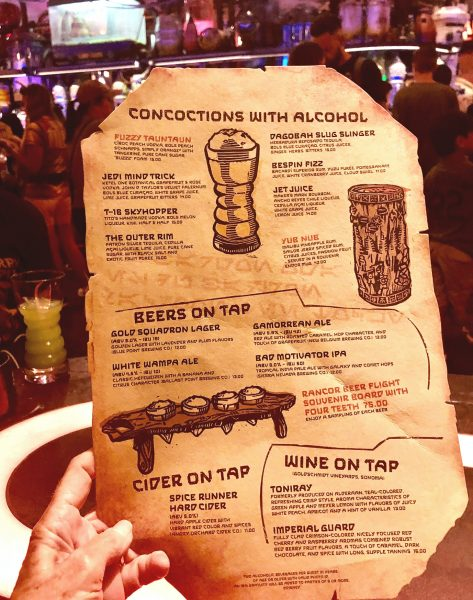 Galaxy's Edge Oga's Cantina menu