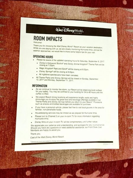 Walt Disney World Hurricane Room Impacts