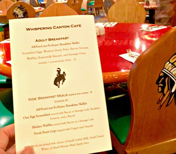 Whispering Canyon Hurricane Menu
