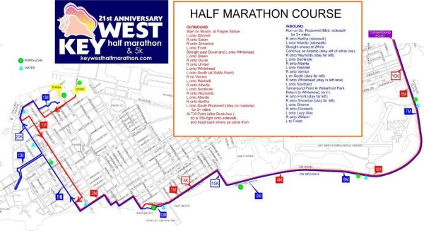 Key West Half Marathon & 5 K Course Map