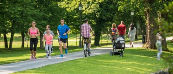 Biking and running in urban parks
